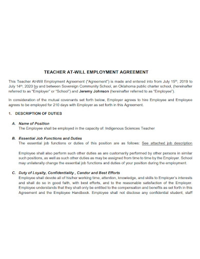 teacher at will employment agreement