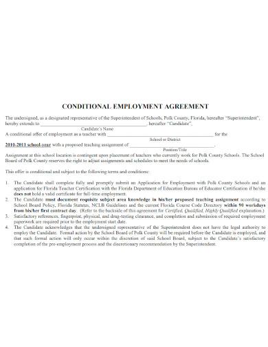 teacher conditional employment agreement