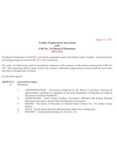 teacher employment agreement sample