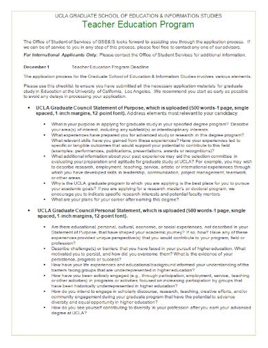 teacher program statement of purpose
