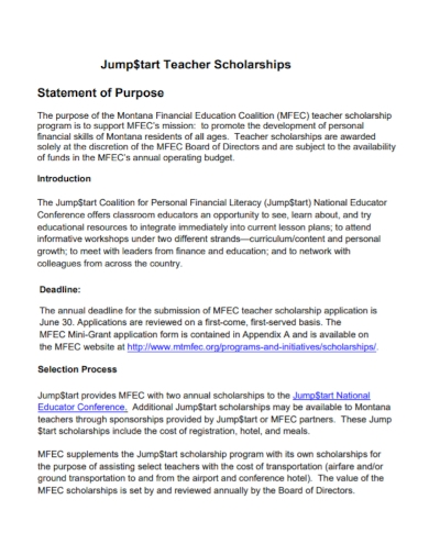 teacher scholarship statement of purpose
