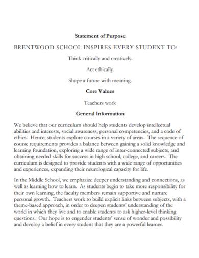 teacher work statement of purpose