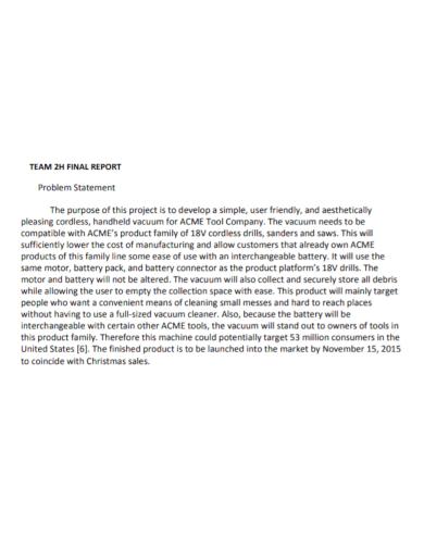 team final report problem statement