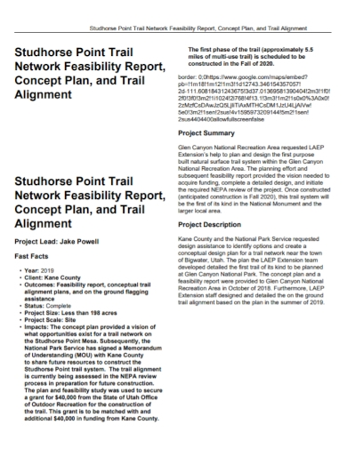 trail network feasibility report