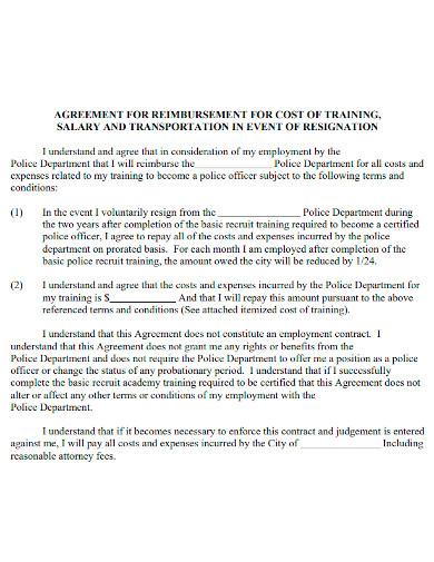 training cost reimbursement agreement