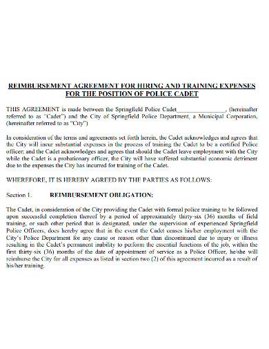 training expenses reimbursement agreement