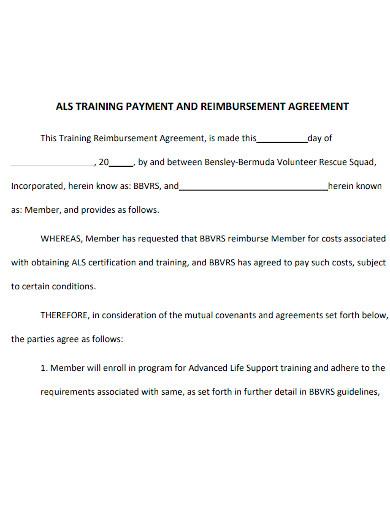 training payment reimbursement agreement