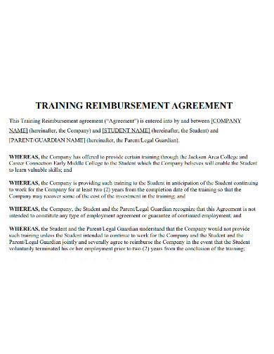 training reimbursement agreement sample
