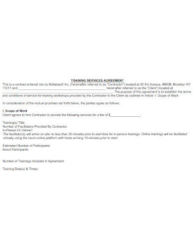 training workshop services agreement