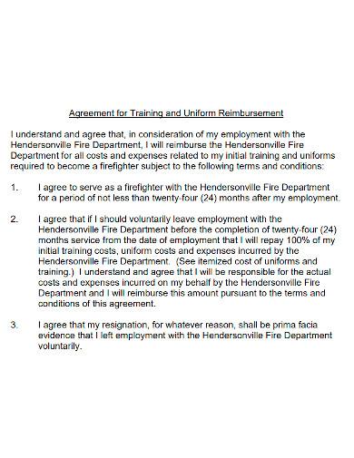training and uniform reimbursement agreement