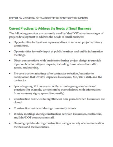 transportation construction business report