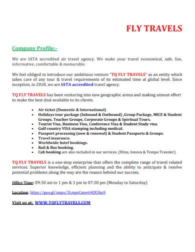 travel agency company profile