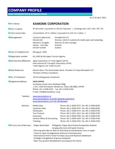travel business company profile