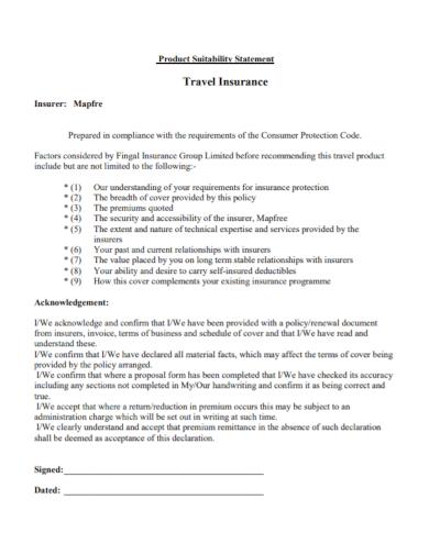 travel insurance suitability statement