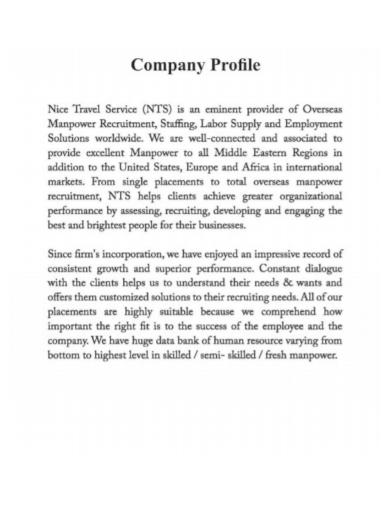 travel service company profile