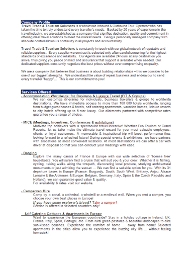 travel trade and tourism company profile