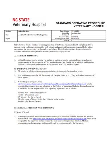 veterinary hospital incident report