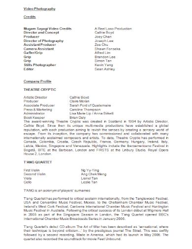 video photography company profile