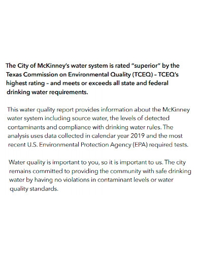 water quality report format