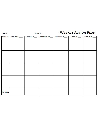 weekly action plan format