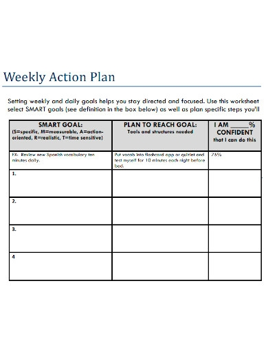 weekly action plan sample