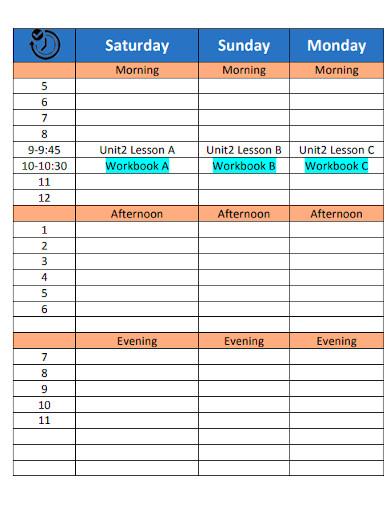 weekly study schedule format