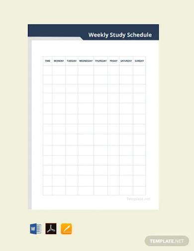 weekly study schedule sample