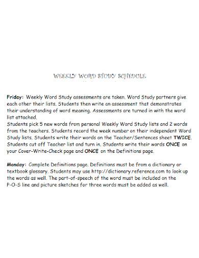 weekly word study schedule
