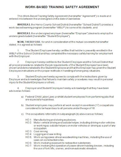 work based training safety agreement