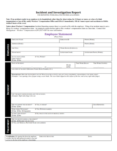 work incident investigation report