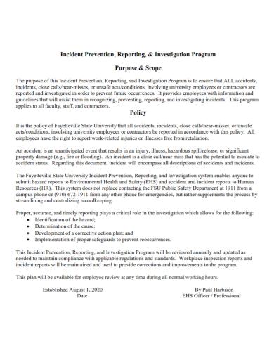 work investigation program report