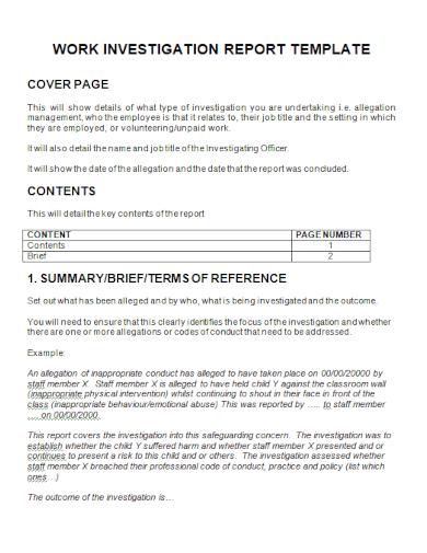 work investigation summary report