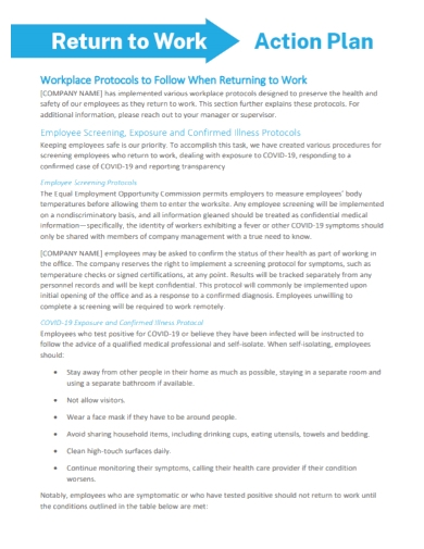 workplace return to work action plan