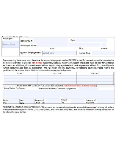 workshop services agreement form