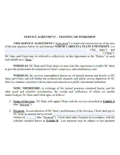 workshop services agreement sample
