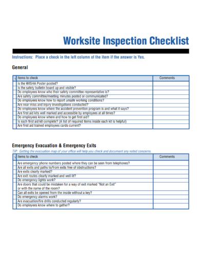 worksite inspection checklist