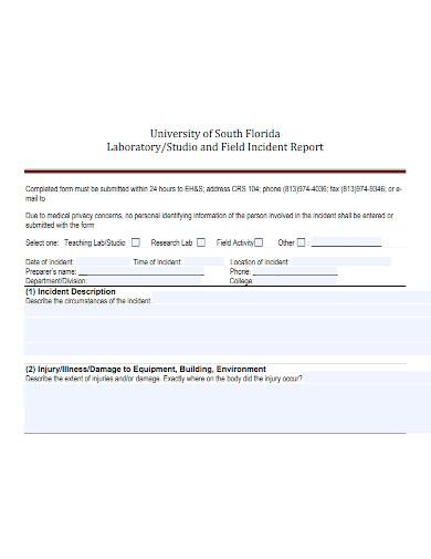laboratory incident report form