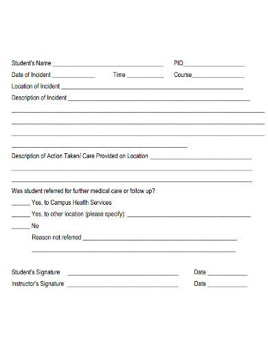 laboratory incident report format