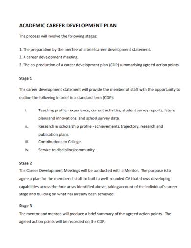 academic career development plan