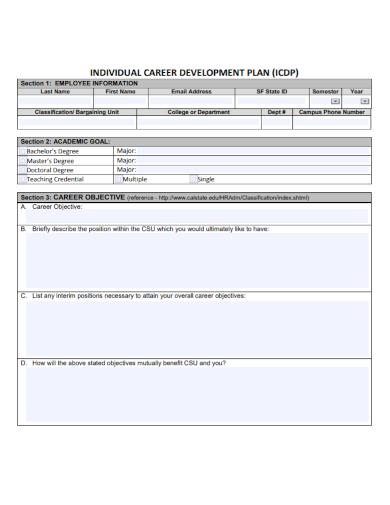 academic individual career development plan