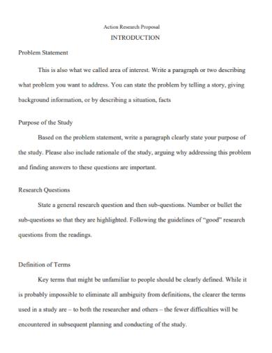action research proposal problem statement