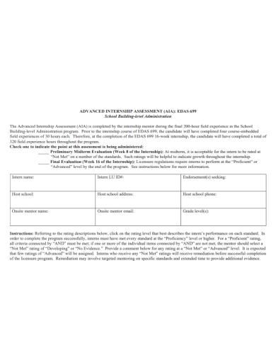 advanced internship assessment