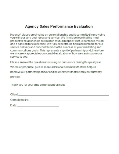 agency sales performance evaluation
