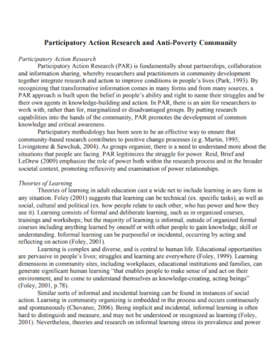 anti poverty community participatory action research