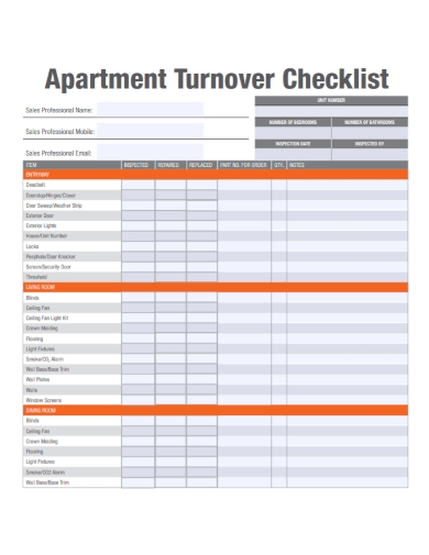 apartment turnover checklist