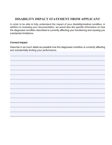 applicant disability impact statement