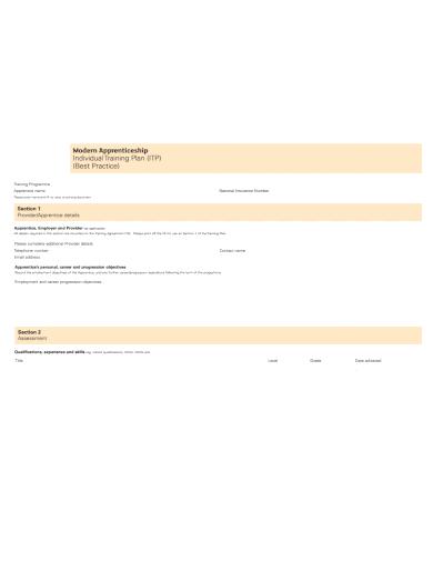 apprenticeship individual training plan