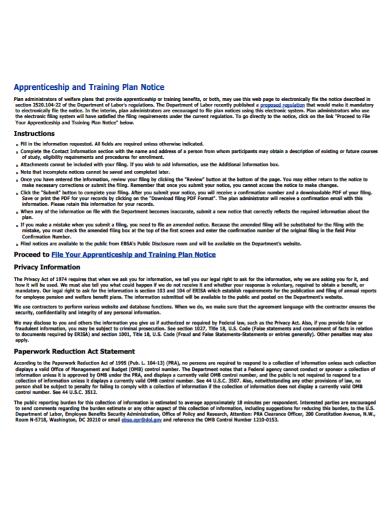 apprenticeship training notice plan