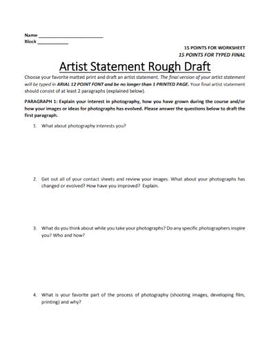artist statement rough worksheet