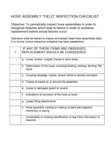 assembly field inspection checklist